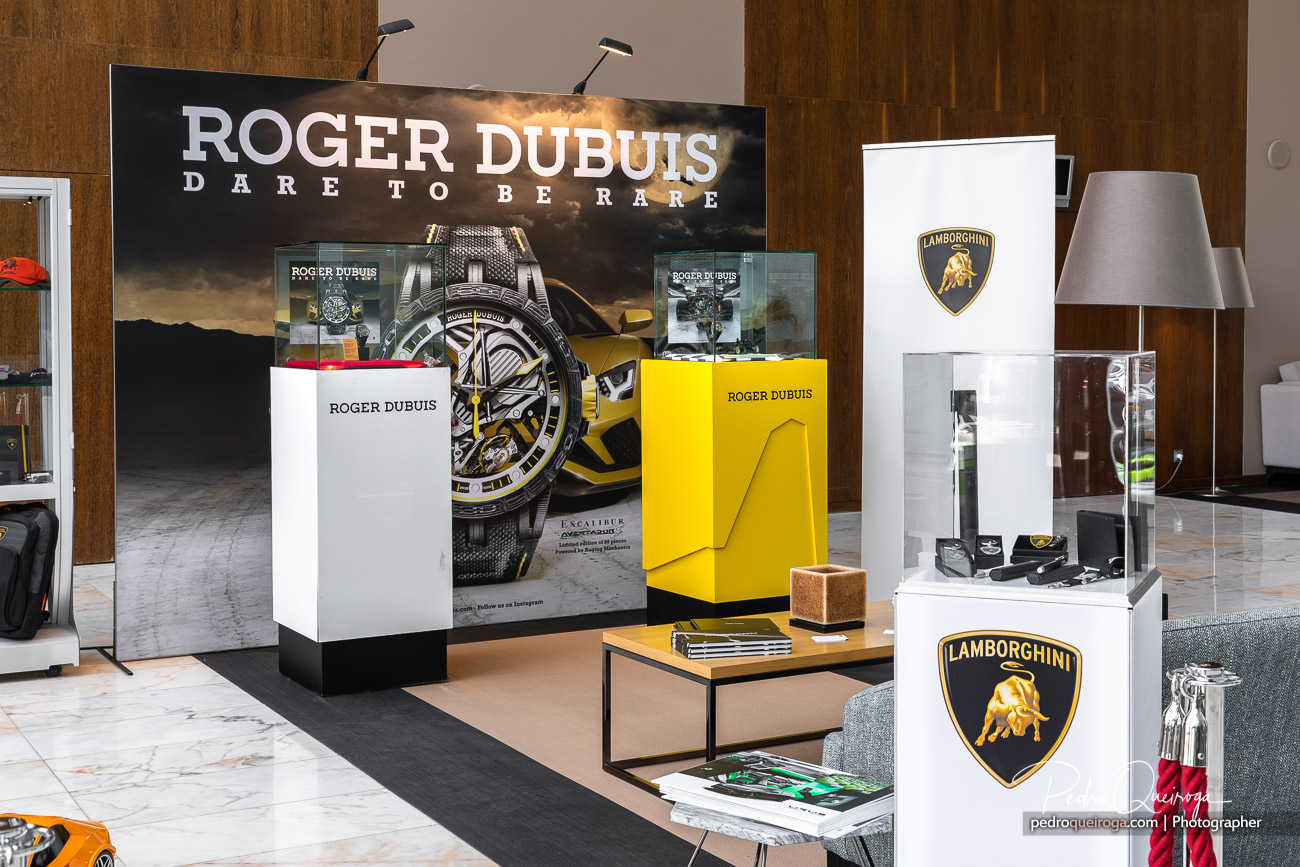 Side perspective of the Roger Dubuis and Lamborghini stand