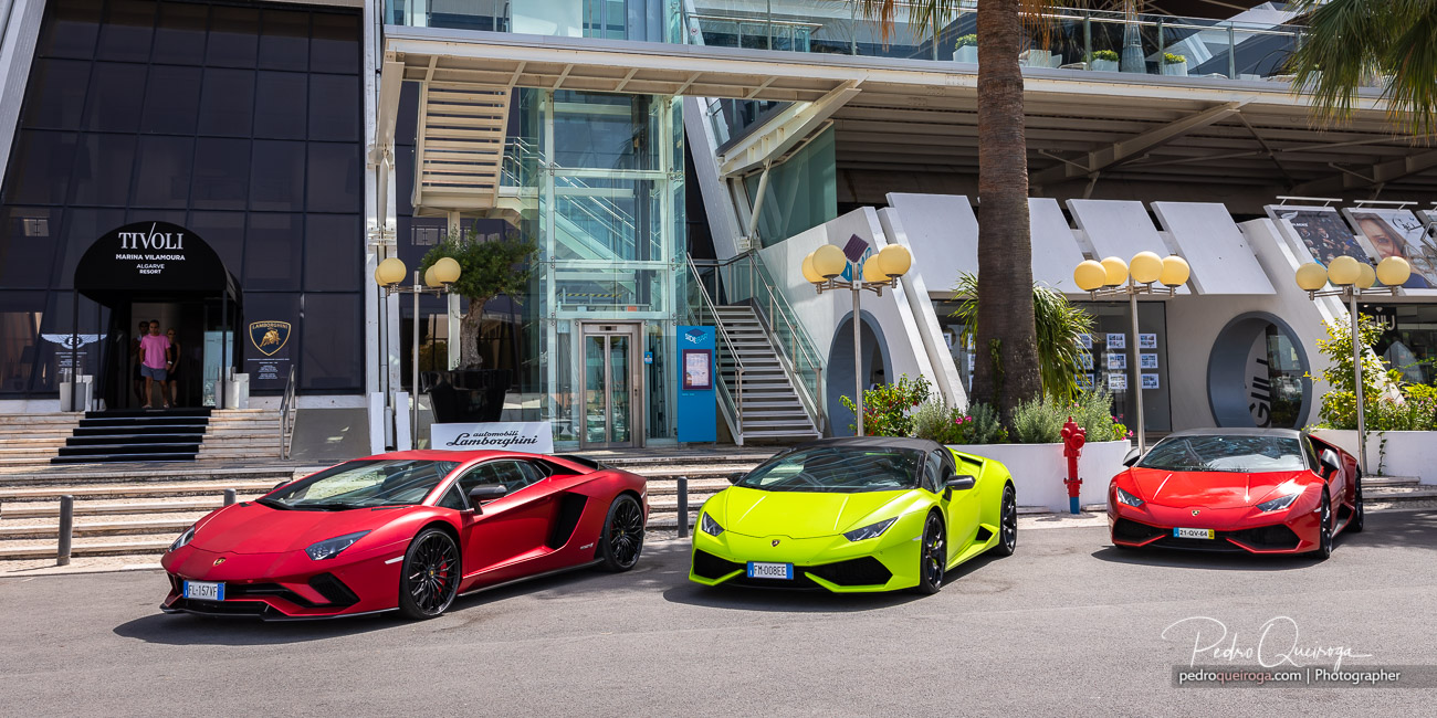 Three Lamborghini cars parked in front of the Tivoli Marinotel